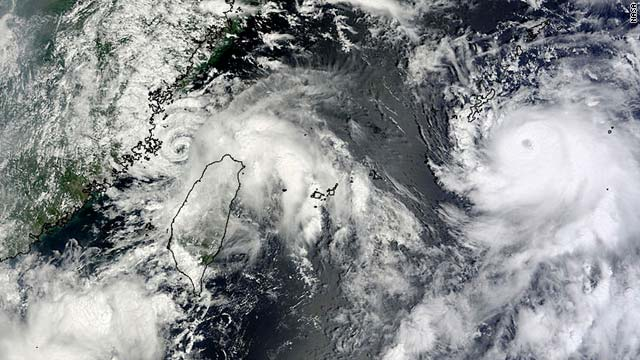 Satellite imagery shows Typhoon Kompasu approaching Okinawa at right and tropical storms welling in the China Sea.
