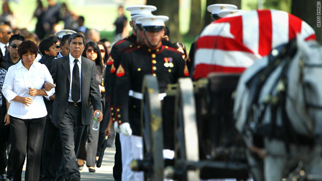 Rites are held Tuesday at Arlington National Cemetery for Marine Sgt. Ronald A. Rodriguez, who died August 23 in Afghanistan.