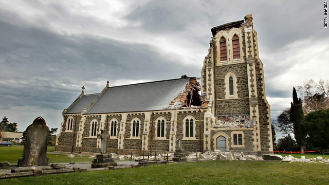 The historic St. Johns church at Hororata, Canterbury, suffered serious damage in Christchurch, New Zealand.