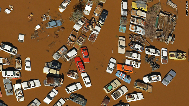 Cars sit deep in the floodwater on Monday in Wangaratta, Australia.