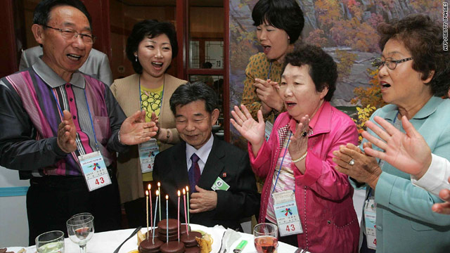 Family members from North and South Korea celebrate a reunion in September 2009.
