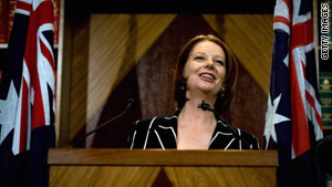Australian PM Julia Gillard announces her new ministry for the Labor Government Saturday in Melbourne.