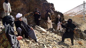 According to the official the paramilitary force is targeting Taliban fighters such as these, pictured earlier this year.