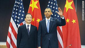 U.S. President Barack Obama and Chinese Premier Wen Jiabao at the U.N. General Assembly Thursday in New York.