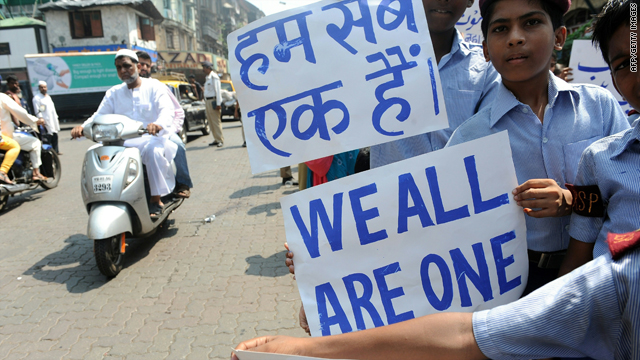 Schoolchildren in Mumbai, India, on Monday call for calm and peace on the eve of the long-awaited Ayodhya ruling.