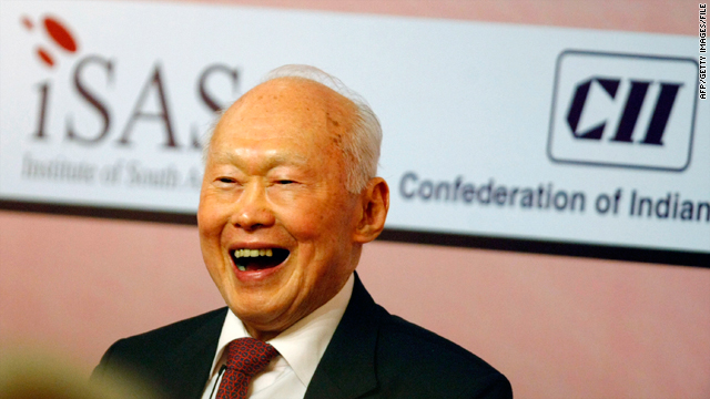 Singaporean Minister Mentor Lee Kuan Yew laughs at a symposium in New Delhi, India, on December 16, 2009.