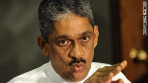 Sarath Fonseka addresses media representatives at parliament in Colombo on September 8, 2010.
