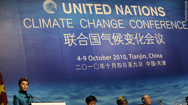 U.N. Framework Convention on Climate Change (UNFCCC) executive secretary Christiana Figueres speaks at the conference in Tianjin, China, Monday.