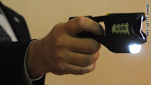 Taser guns emit an electrical current which temporarily immobilizes the victim.
