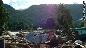 The aftermath of flooding inTeluk Wondama, in Indonesia's West Papua on October 5, 2010.