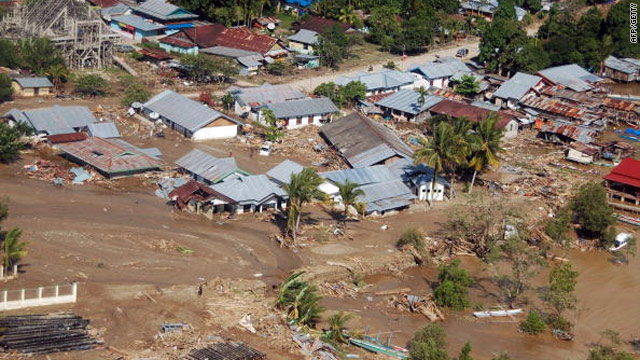 Damage caused by a flash flood in Wasior, Indonesia, taken on October 6.