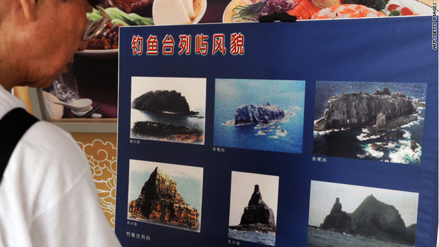 Photos of the disputed islands of Senkaku in Japan and Diaoyu in China  displayed on September 11, 2010.