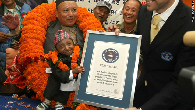 Khagendra Thapa Magar received a certificate declaring him as the world's shortest man at a ceremony in Nepal.