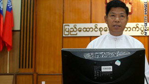 Myanmar Election Commission chairman Thein Soe speaks at a briefing on the forthcoming elections.