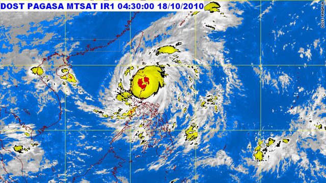 This PAGASA-DOST satellite image at 0430 GMT Monday shows Typhoon Juan making landfall in the Philippines.