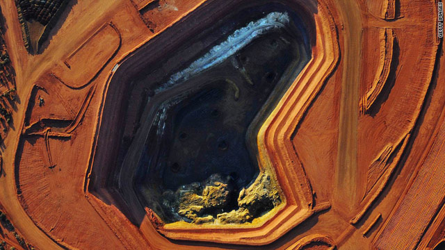 This undated handout aerial photo released by the Lynas Corporation on October 1, 2010 shows the stockpiles of rare earth  ore at their Mount Weld mine in Western Australia.
