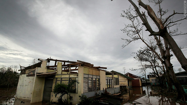A school damaged by Typhoon Megi sits among the debris on October 19 in San Jose, Philippines.
