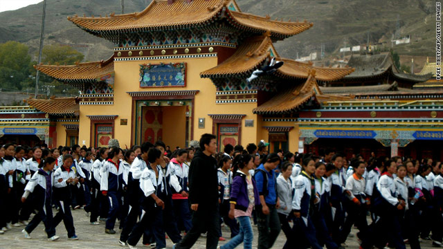 Tibetan students protest on October 19 in Qinghai province.