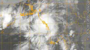 Satellite image shows Tropical Cyclone Giri making landfall in Myanmar.