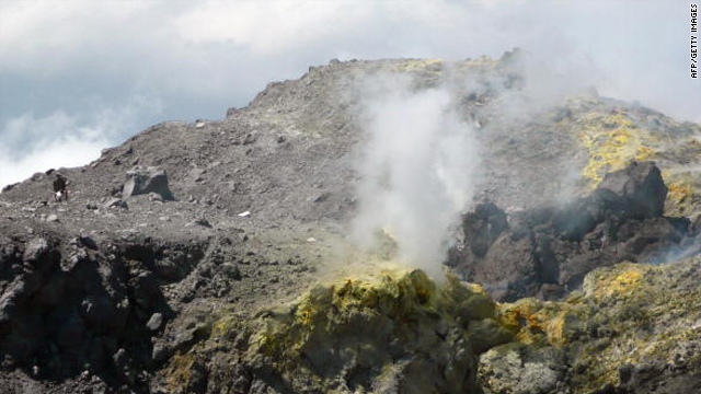 This picture taken on September 16, 2009, shows sulphurous fumes curling from fissures in the rock on Mount Merapi.