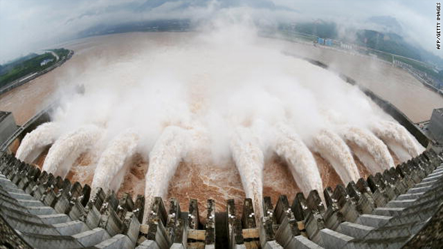 A picture shows this year's biggest release of water from the sluice for flood prevention at the Three Gorges Dam in Yichang, central China's Hubei province, on July 20.
