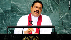 Sri Lankan President Mahinda Rajapaksa, pictured at the U.N. HQ, has appealed to Saudi Arabia's king  for clemency.