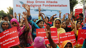 Pakistanis protest drone attacks and religious fundamentalism last week in Lahore, Pakistan.