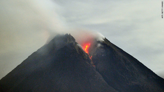 Mount Merapi releases lava for the first time since its latest round of activity began earlier this week.
