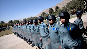 Recruits undergo training at the Police Academy in October Reports suggest some police have defected to the Taliban.