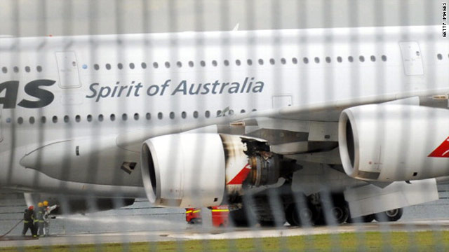 A troubled Qantas Airbus A380 plane seen after an emergency landing at the Changi International airport in Singapore on Thursday.