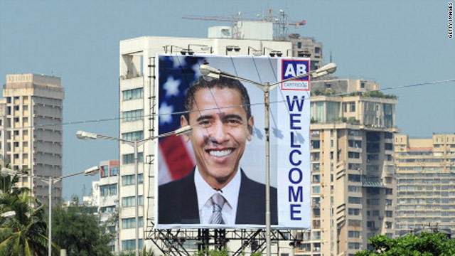 A billboard welcoming US President Barack Obama is seen in Mumbai on Thursday.