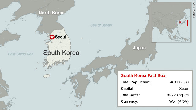 Map of south korea cnn factbox sourced from cia world factbook gumiabroncs Image collections