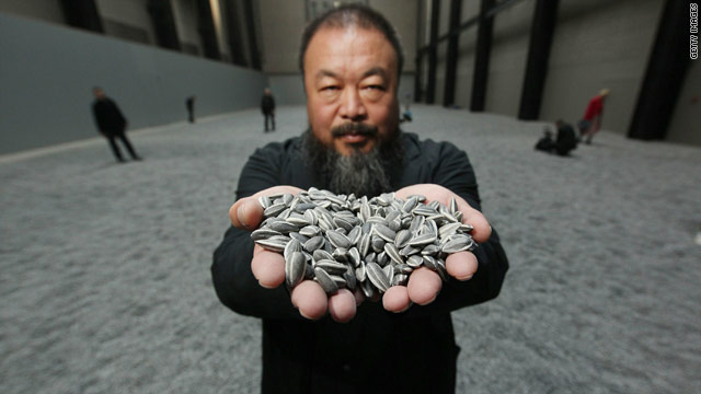 "Chinese Artist Ai Weiwei at London's Tate Modern on October 11, 2010 for the opening of his installation ""Sunflower Seeds""."