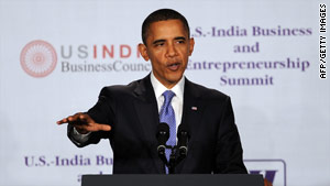 President Obama speaks at the U.S.-India Business Council and Entrepreneurship Summit on Saturday in Mumbai, India.