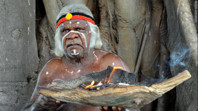 Aboriginal elder Max Eulo performs a 'Welcome to Country' ceremony on Goat Island in Sydney Harbour on April 18, 2010.