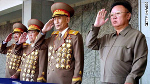 Jo Myong-Rok, second right, at the 60th anniversary of the Workers' Party of Korea in Pyongyang on October 10, 2005.
