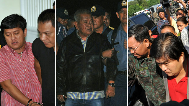 A split photo showing file images of Andal Ampatuan Jr  (L), Andal Ampatuan Senior (C) and Zaldy Ampatuan (in red shirt).