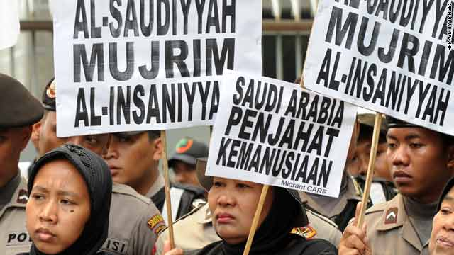 A protest over the torture of Sumiati Binti Salan Mustapa, outside the Saudi Arabian embassy in Jakarta. on Nov. 18.