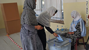 An Afghan woman votes in Kabul on September 18.