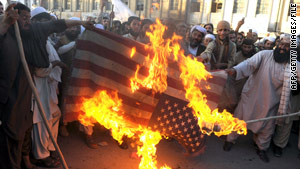 Pakistanis burn a U.S. flag last month in Quetta to protest against the threat of American drone attacks.