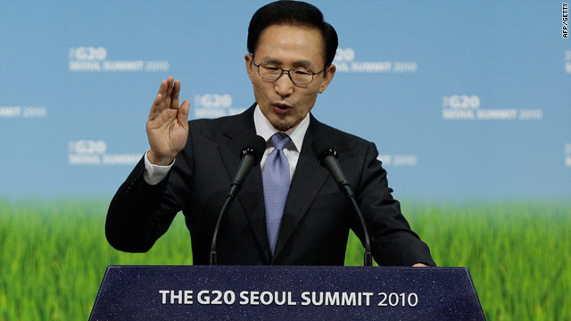 S. Korean President Lee Myung-bak -- pictured talking at the Seoul G-20 summit -- said the provocation was like an invasion.
