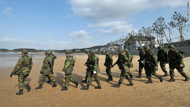 South Korean soldiers march on a beach in Taean southwest of Seoul as part of joint U.S. military exercises on Sunday.