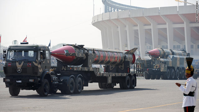 Nuclear-capable missiles are driven on a mobile launcher during a Pakistan Day military parade in Islamabad in 2008.