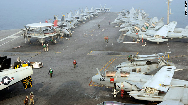 U.S. Navy crewman on the deck of the USS George Washington during a joint military exercise with South Korea, Nov. 30, 2010.