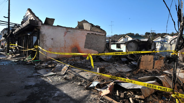 Damaged buildings on South Korea's Yeonpyeong Island on December 3, 2010 following a North Korean artillery attack.