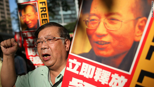 Protesters in  Hong Kong on December 5 demanding the release of Liu Xiaobo from a Chinese jail.