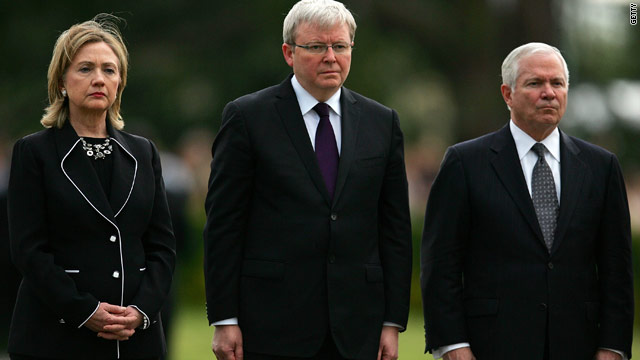 U.S. Secretary of State Hillary Clinton, Australia Foreign Minister Kevin Rudd, U.S. Secretary of Defense Robert Gates in November.