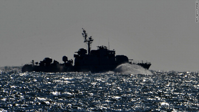 South Korean navy vessel patrols Yeonpyeong Island