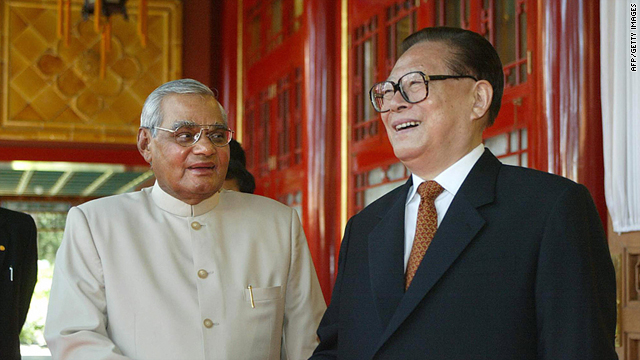 Visiting Indian Prime Minister Atal Behari Vajpayee, left, meets with Jiang Zemin, Chairman of the Military Commission and former president, during a landmark visit on 24 June 2003 in Beijing.