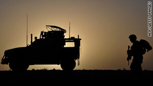 A U.S. Marine patrols the Musa Qala district in Afghanistan's Helmand province on Wednesday.